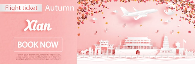 Modelo de publicidade de voo e bilhete com viagens para xian, china no outono temporada lidar com folhas de bordo caindo e monumentos famosos