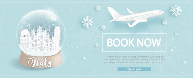 Modelo de publicidade de voo e bilhete