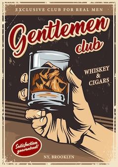Modelo de publicidade do clube de cavalheiros vintage