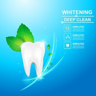 Modelo de publicidade ou promoção de cuidados dentários e dentes