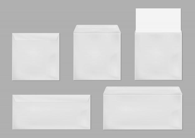 Modelo de quadrado branco e envelope padrão