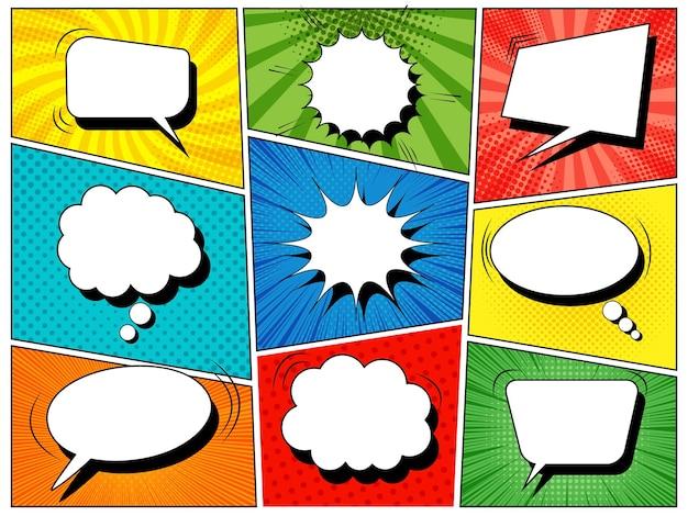 Modelo de quadrinhos coloridos com balões de fala em branco de diferentes formas no estilo pop-art.