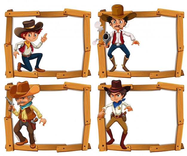 Modelo de quadro com cowboys