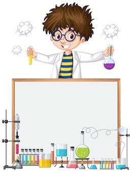 Modelo de quadro com criança no laboratório de ciências