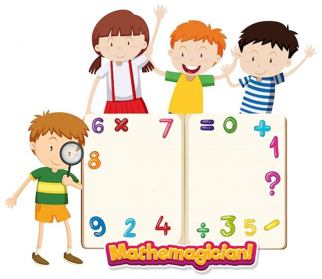 Modelo de quadro com crianças felizes e números