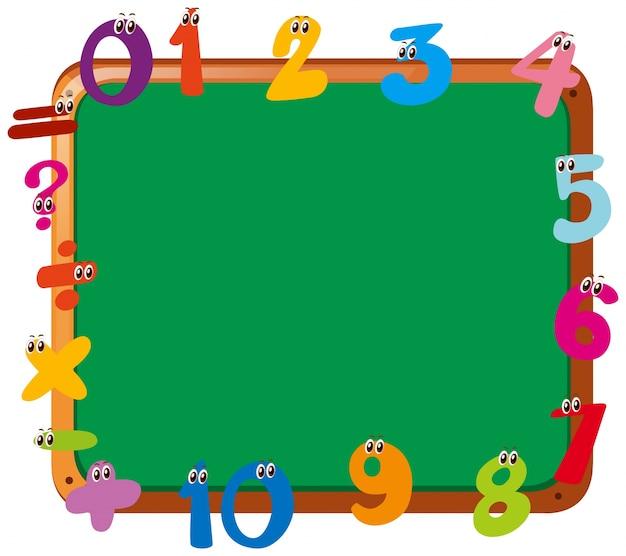 Modelo de quadro com diferentes números