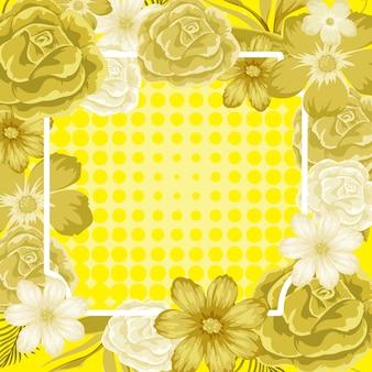 Modelo de quadro com flores amarelas