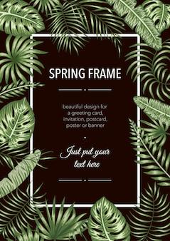Modelo de quadro com folhas tropicais em fundo preto. cartão de layout vertical com lugar para texto. projeto primavera ou verão