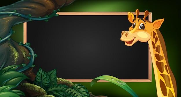 Modelo de quadro com girafa selvagem
