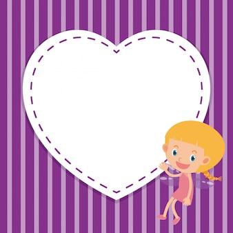 Modelo de quadro com menina e coração