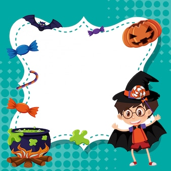 Modelo de quadro com menino em traje de halloween