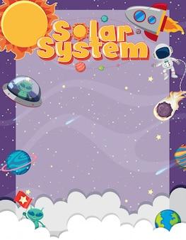 Modelo de quadro com muitos planetas no fundo do espaço