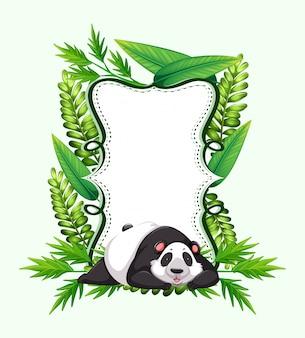 Modelo de quadro com panda bonito