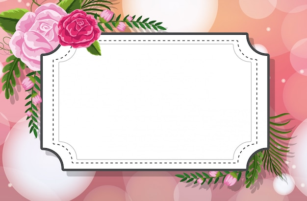 Modelo de quadro com rosas em fundo rosa