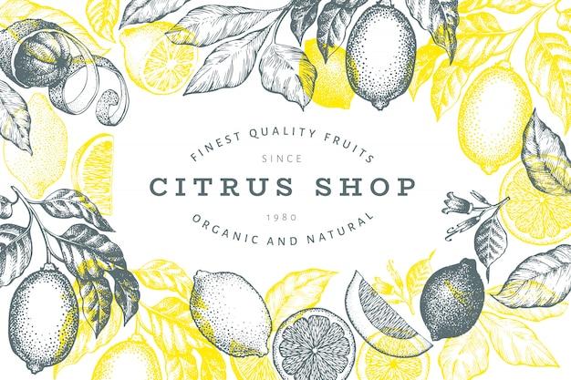 Modelo de quadro de árvore de limão. mão-extraídas ilustração de frutas.