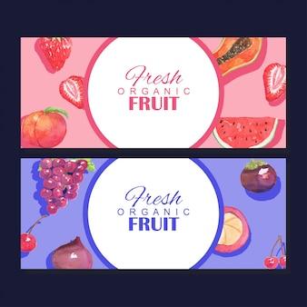 Modelo de quadro de banner de frutas orgânicas frescas em aquarela