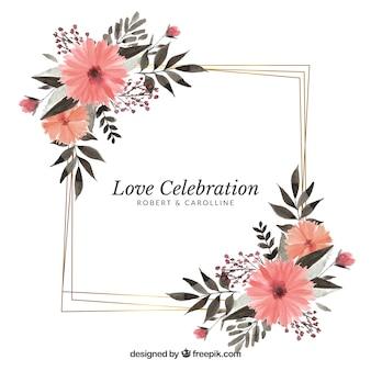 Modelo de quadro de casamento floral