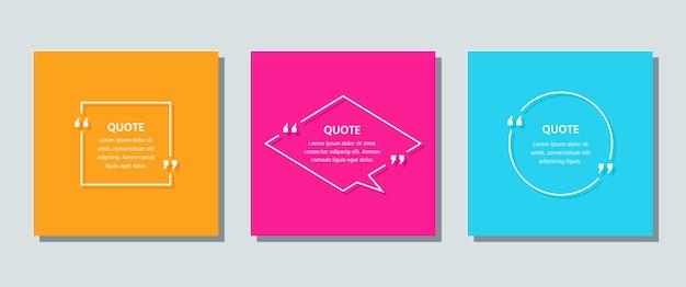 Modelo de quadro de citação. caixa de texto de citações.