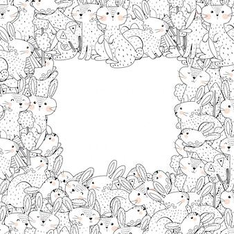 Modelo de quadro de contorno com coelhos engraçados