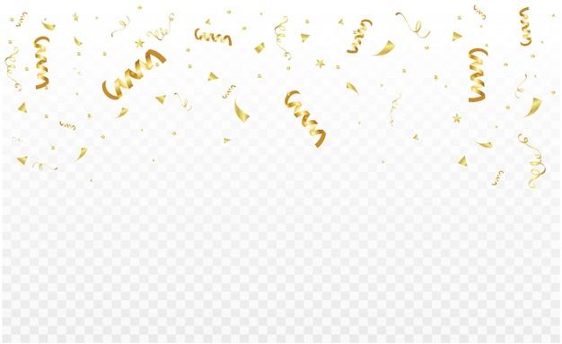 Modelo de quadro de decoração festa festa com fitas de confete e ouro. luxo rico cartão de saudação.