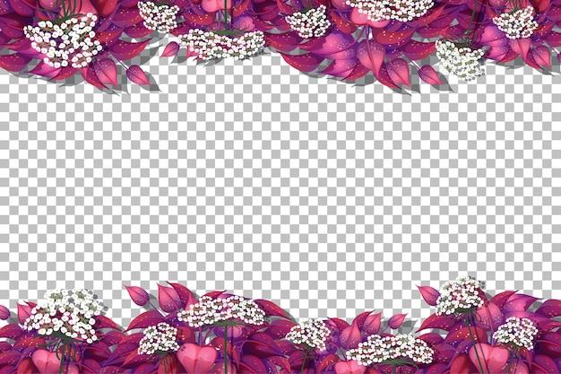Modelo de quadro de folhas rosa em fundo transparente