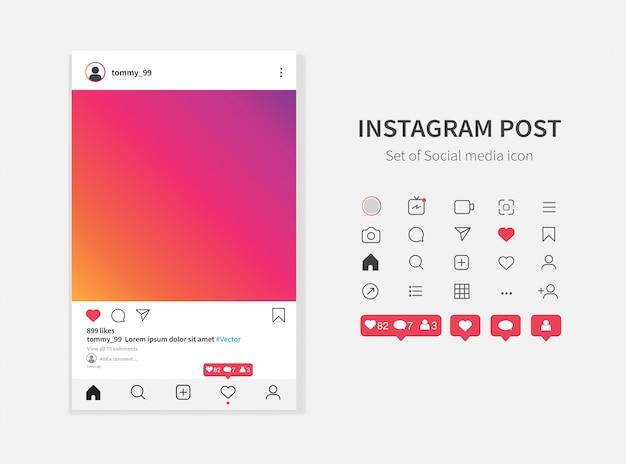 Modelo de quadro de foto do instagram e ícones de notificações de mídia social.