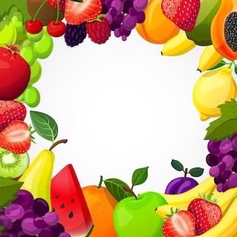 Modelo de quadro de frutas