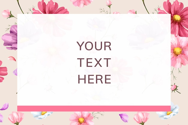 Modelo de quadro de fundo flor rosa