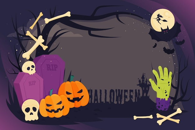 Modelo de quadro de halloween de design plano