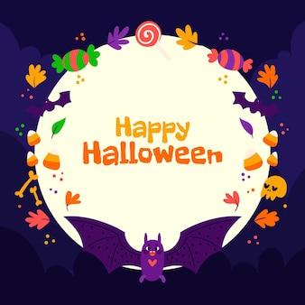 Modelo de quadro de halloween desenhado à mão