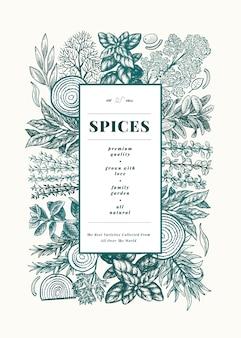 Modelo de quadro de menu de ervas e especiarias culinárias