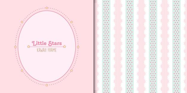Modelo de quadro de pequenas estrelas fofas e padrão sem emenda de renda e estrelas