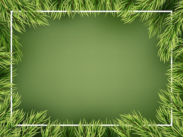 Modelo de quadro de ramos de árvore de natal.