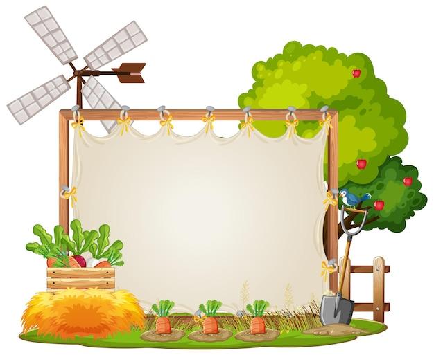 Modelo de quadro de tela na cena do jardim isolado no fundo branco