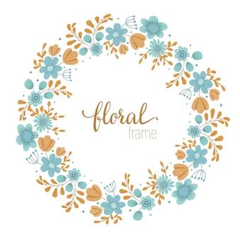 Modelo de quadro de vetor com flores silvestres desenhada de mão plana no espaço em branco. cartão de layout quadrado com lugar para texto. design floral para convites, casamento, festa, eventos promocionais.