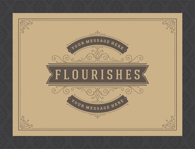 Modelo de quadro de vinhetas e vinhetas ornamentadas caligráficas cartão vintage ornamento