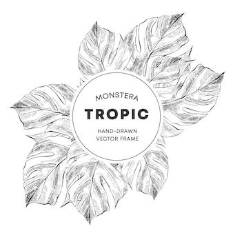 Modelo de quadro do monstera design mão desenhada esboço banner Vetor Premium