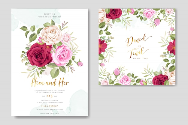 Modelo de quadro floral de cartão de casamento lindo