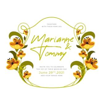 Modelo de quadro floral de casamento