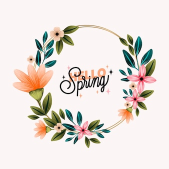 Modelo de quadro floral primavera aquarela