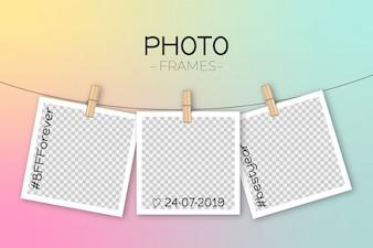 Modelo de quadro polaroid