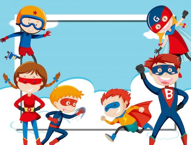 Modelo de quadro super-herói