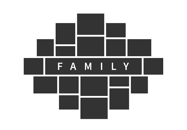 Modelo de quadros de colagem de fotos. layout de moldura de foto de família para design de interiores de conceito.