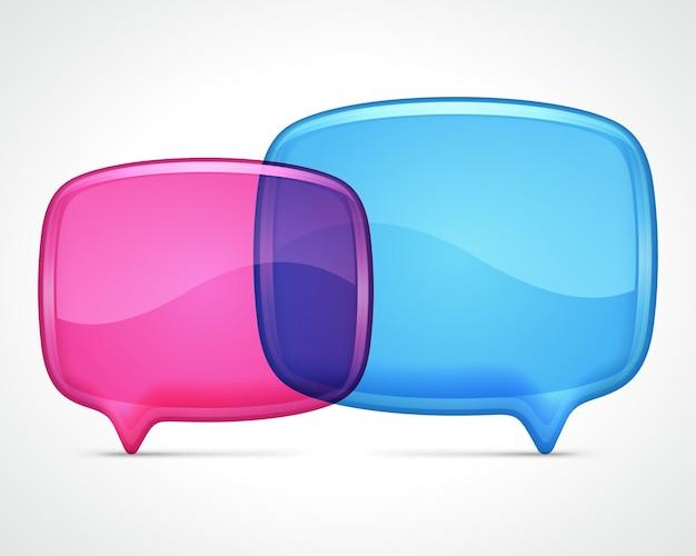 Modelo de quadros de diálogo de vidro transparente. balão rosa e azul