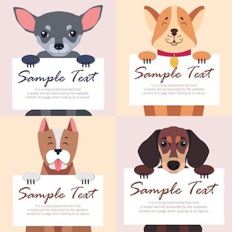 Modelo de quatro cães de raça pura detém cartões brancos