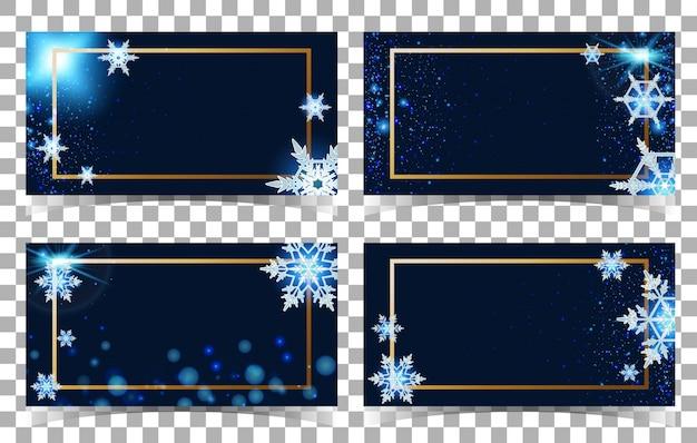 Modelo de quatro cartões com fundo de flocos de neve