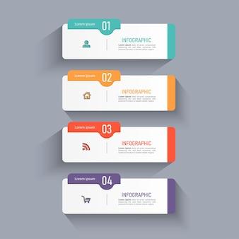 Modelo de quatro etapas de infográfico criativo