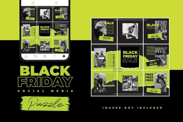 Modelo de quebra-cabeça de mídia social negra sexta-feira com estilo hype e cor neon