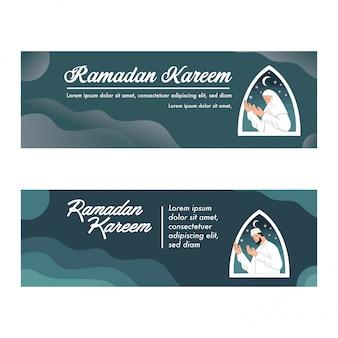 Modelo de ramadan kareem banner com vetor de ilustração muçulmana rezando