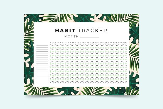 Modelo de rastreador de hábitos com folhas